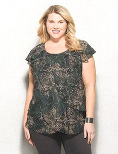 1596bf5f78b Plus Size Green Floral Tulip Top