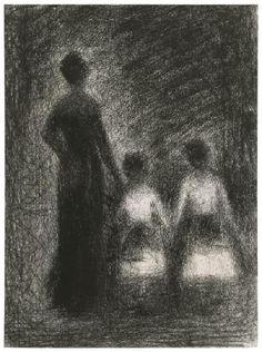 Woman with Two Girls (conté pencil on paper) 1884, Georges Seurat
