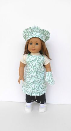 18 Inch Doll Clothes Apron Chef's Hat Oven Mitt by DonnaDesigned