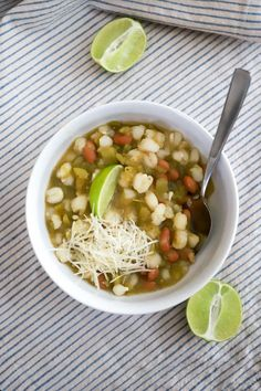 No-Chop Posole Verde (and Cinco de Mayo menu!) - Done in just 20 minutes, this posole verde uses some heavy-hitting pantry flavor ingredients. #cincodemayorecipes #health #healthy #healthyrecipes #healthyliving #healthylifestyle #healthylife