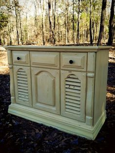 Repurposed vintage console stereo cabinet converted to cedar chest after.