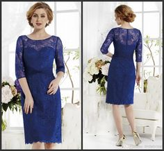 Wholesale Mother of the Bride Dresses - Buy 2014 Mother of the Bride Dresses 3/4 Sleeves Royal Blue Lace Sheer Sleeve Knee /Tea Length Short Mother of the Groom Dress Suits J165010, $139.0 | DHgate