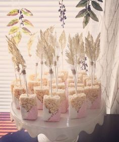 BOHO inspired Gold feather Rice crispy treats for baby shower Wild One Birthday Party, Girl First Birthday, Third Birthday, 3rd Birthday Parties, Baby Birthday, Birthday Ideas, Shower Party, Baby Shower Parties, Baby Shower Themes