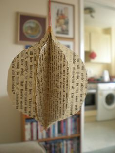 recycled book page Christmas ornament