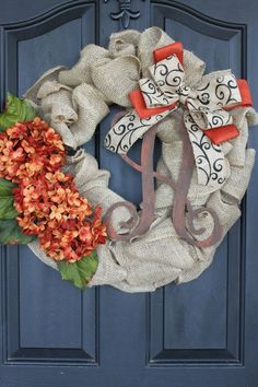 Fall wreath- Monogram Wreaths for door – Wreath – Door Wreaths – Fall Wreaths for door – Wreath for door