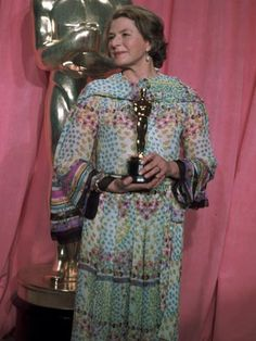 """Ingrid Bergman winning the Best Supporting Actress Oscar® for her performance in """"Murder on the Orient Express"""" - 47th Annual Academy Awards® in 1975."""