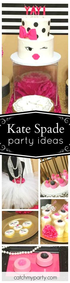 Angeles D's Birthday / Kate Spade - Millie's Kate Spade Party at Catch My Party 30th Birthday Party For Her, Birthday Diy, Girl Birthday, Cake Birthday, Husband Birthday, Birthday Nails, Birthday Ideas, Birthday Cake Girls Teenager, Kate Spade Party