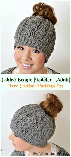 Crochet Cable Hat Free Patterns Toddler-Adult Cabled Beanie Hat Crochet Free Pattern – Adult Free Patterns Best Picture For Crochet monederos For. Mens Crochet Beanie, Crochet Beanie Pattern, Crochet Mittens, Knit Or Crochet, Crochet Dolls, Free Crochet, Crochet Hats, Pony Tail Crochet Hat, Ponytail Hat Knitting Pattern