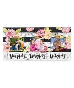 Another great find on #zulily! White 'Think Be Live Happy' Floral Photo Frame #zulilyfinds