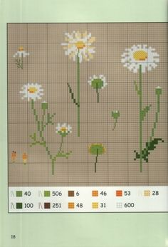 Daisies 2 of 3 Cross Stitch Numbers, Just Cross Stitch, Cross Stitch Flowers, Cross Stitch Charts, Cross Stitch Designs, Cross Stitch Patterns, Quilt Stitching, Cross Stitching, Cross Stitch Embroidery
