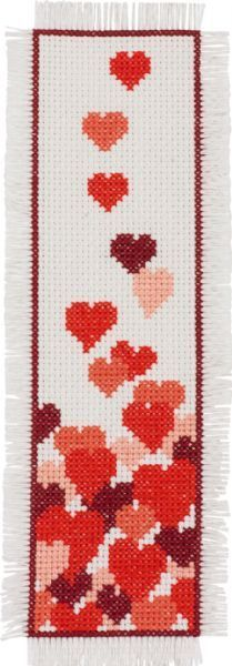 Permin Hearts Bookmark - Cross Stitch Kit. Kit includes 14 Ct. Ivory Aida, floss, needle, and instructions. Finished size: 2 1/2 x 8 1/2 (7cm x 22cm)