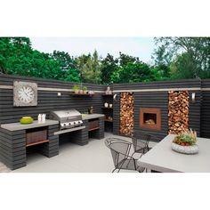 Cadac Meridian Inbouw Buitenkeuken - 4 Brander Outdoor Kitchen Design, Rustic Outdoor Kitchens, Modern Outdoor Kitchen, Outdoor Kitchen Grill, Modern Outdoor Living, Outdoor Cooking, Outdoor Entertaining, Wood Storage, Kitchen Wood