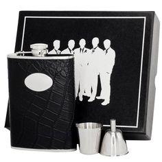 Visol Noir Crocodile Leather Legion II Flask Gift Set - 8 ounces