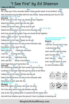 I See Fire Chords and Lyrics by Ed Sheeran. Guitar chords | I see fire | Ed Sheeran | #edsheeran, #iseefire, #guitarchords,