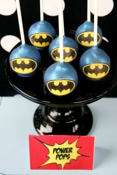 Amazing Batman cake pops at a Superhero Party. See more party ideas at CatchMyParty.com. #superheropartyideas