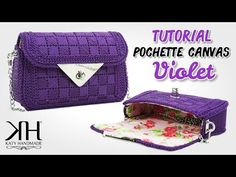 "Tutorial pochette su rete preformata - Canvas ""Violet"" ♡ Katy Handmade - YouTube Plastic Canvas Stitches, Plastic Canvas Crafts, Plastic Canvas Patterns, Canvas Purse, Plastic Card, Canvas Designs, Bargello, Photo Tutorial, How To Make Beads"