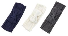 Bow Accent Ear Warmer - Ivory, Gray or Navy