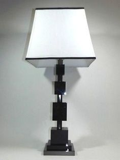 Mid Century Modern Contemporary Table Lamps Lights White Lamp Shade Light Switch Stacked Cube Architectural Design four Black Marble Columns Chrome Office Table Lamp Lighting, Lamp, Modern Contemporary, Contemporary Table Lamps, White Lamp Shade, Contemporary Lamps, Marble Columns, White Lamp, Cool Lamps