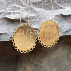 Monogrammed Gold Scalloped Necklace | MARLEYLILLY