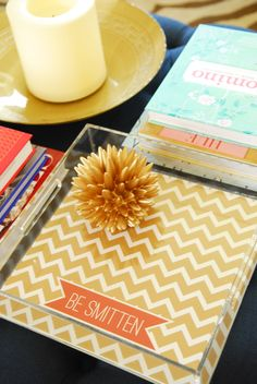 PRETTY SMITTEN Personalized Lucite Tray - CHEVRON Collection - you pick colors