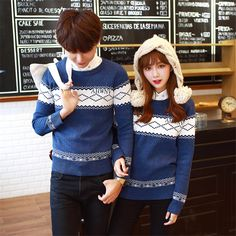 Zafraa Blue Printed Set of two Couple Sweater #CoupleSweater