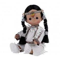 "This Native American doll is dressed in a beautiful costume with ""feather"" accents and a sweet smile and the precious tear-drop PM eyes Native American Dolls, Native American Indians, Precious Moments Dolls, Indian Dolls, Journey Girls, Beautiful Costumes, Vinyl Dolls, How To Make Clothes, Doll Maker"