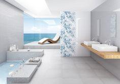 Koupelna s výhledem na moře je pro relaxaci jako stvořená. Poeme 25×75 cm s romantickým květinovým dekorem. www.mbkeramika.cz Bath Tiles, Tiles, Bath, Bathroom, Bathtub