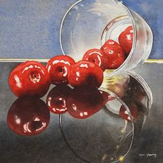 'Cherries Tumbled' by Ken Young. This small still life watercolour painting, 6 by 6 inches in size, shows cherries spilling out of an overturned tumbler, with reflections in an underlying surface of black glass.