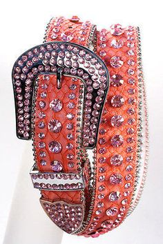 Rhinestone Crystal Studded Cowgirl Bling Leather Belt Pink