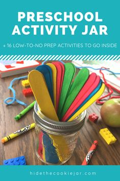 Activity Jar for Preschoolers + 16 no and low prep activities that are educational and fun. fine and gross motor skills practise too! Motor Skills Activities, Kids Learning Activities, Gross Motor Skills, Infant Activities, Educational Activities, Preschool At Home, Preschool Crafts, Crafts For Kids, Preschool Ideas