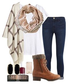 Fall is here by madisonraexoxo on Polyvore featuring H&M, Frame Denim, Charlotte Russe, Kendra Scott, Maelu, Tory Burch and Essie
