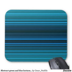 Abstract green and blue horizontal lines mouse pad