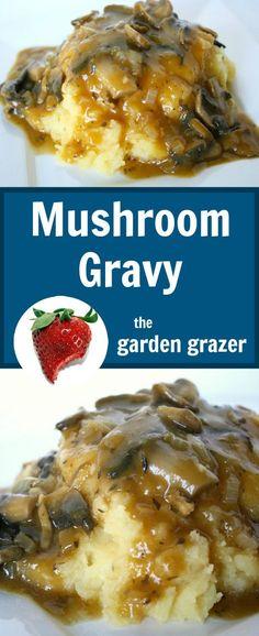 Favorite gravy EVER!! Savory mushroom gravy with onion, oregano, thyme (vegan)