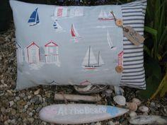 Nautical Beach huts & Sailing boats Cushion Seaside Yacht LARGE INCLUDING PAD | eBay