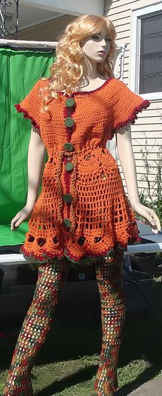 orange sweater dress/top/cover-up.