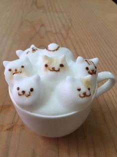 """""""Neko Atsume"""" latte…via Cappuccino Art, Coffee Latte Art, I Love Coffee, Coffee Break, Coffee Coffee, Morning Coffee, Tee Shop, Neko Atsume, Cat Cafe"""