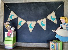 The bunny burlap banner is a great addition to a childrens nursery or your spring time decor.    5 bunny pennants measuring 4 X 5 inches.  Burlap - CAN DO IN WHITE $30