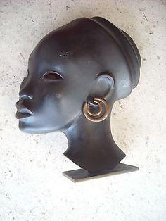 Hagenauer-Vienna-Austria-Bronze-Sculpture-Art-Deco-African-Woman-Handmade
