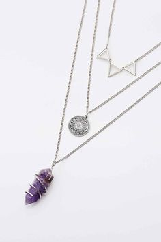 Triangle, Disc and Crystal Layering Pack Necklace in Silver