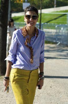 Giovanna Battaglia.  I like the color mix she's wearing & the embelishment on the plain shirt.