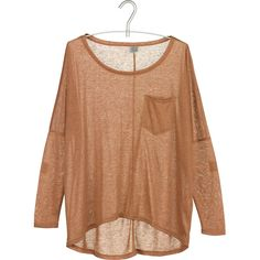 KARL MARC JOHN T-shirt chiné loose Marron (£12) ❤ liked on Polyvore featuring tops, blouses, shirts, blusas, beige shirt, loose fitting shirts, long blouses, long shirts and loose shirts