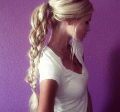 loose ponytail w/ intricate braid.   I want this