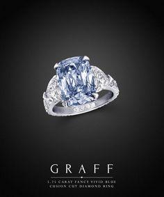 Graff Diamonds: 5.25 carat Fancy Vivid Blue Cushion Cut Diamond Ring