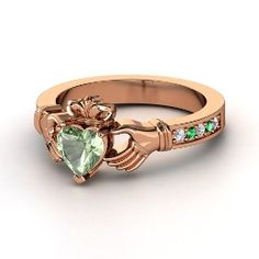 Claddagh Ring, Heart Green Amethyst Rose Gold Ring with Emerald One of my favorite symbols ever
