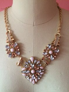 NINA Pink Crystal Statement Necklace by 89andLuxe