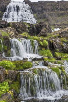 Dynjandi falls at Iceland -- A magnificent cascading waterfall near Þingeyri. Dynjandi is among the Westfjords most impressive natural sights. Photo: Mike Powell