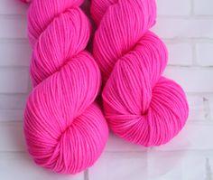 Miranda Fluoro Hot Pink Yarn - Semisolid Hand Dyed Yarn - Merino Cashmere Nylon - MCN - DK Yarn -8 Ply - Cashmere Yarn - Hand Dyed Yarn by ClementineAndThread on Etsy