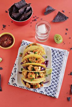 Sriracha Roasted Cauliflower Tacos with Quick Red Cabbage Slaw | A Beautiful Mess | Bloglovin'