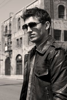 Asher monroe looking hot, sexy, cute, and handsome in those shades, and stylish jacket.