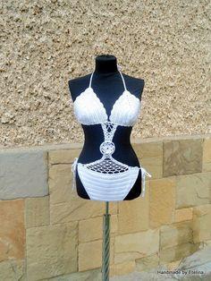White Crochet Swimsuit, Crochet Swimwear, Summer Swimsuit, Beach wear, White Cotton Swimwear,  - Crochet creation by etelina